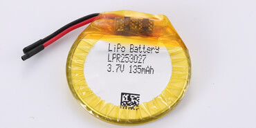 3.7 Round Li Polymer Battery LPR253027 135mAh