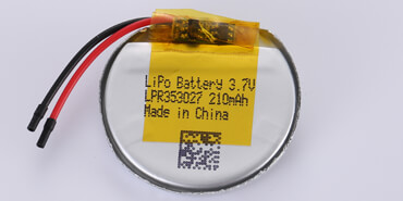 3.7V Round Li Polymer Battery LPR353027 210mAh with PCM and wires