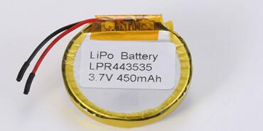3.7V Round Li Polymer Battery LPR443535 450mAh