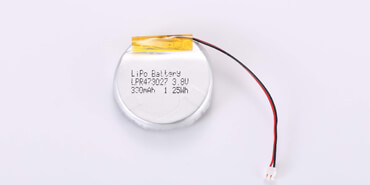 3.8V Round Li Polymer Battery LP473027 300mAh with connector
