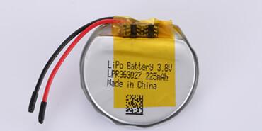 3.8V Round Li Polymer Battery LPR363027 225mAh