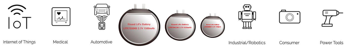 Application of Round Li Polymer Battery