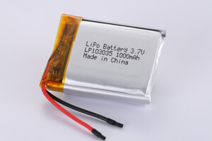 Li Polymer Battery LP103035 3.7V 1000mAh with protection circuit and wires