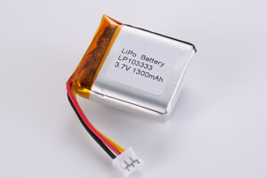 Li Polymer Battery LP103333 3.7V 1300mAh with protection circuit, NTC, Wires and connector