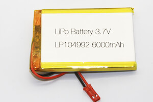 Li Polymer Battery LP104992 3.7V 6000mAh with protection circuit, wires, and connector