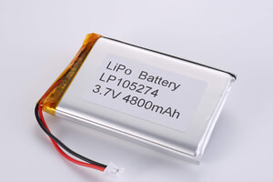 Li Polymer Battery LP105274 3.7V 4800mAh with protection circuit, wires, and connector