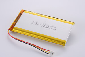 Li Polymer Battery LP1066121 3.7V 10000mAh with protection circuit, NTC, wires, and connector