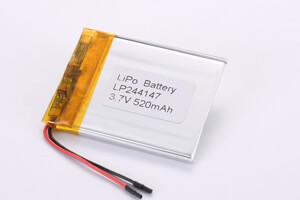 Li Polymer Battery LP244147 3.7V 520mAh with protection circuit and wires
