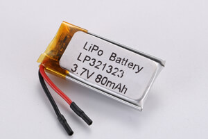 Li Polymer Battery LP321323 3.7V 80mAh with protecton circuit and wires