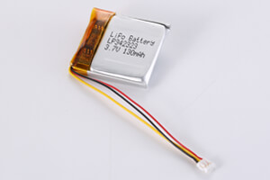 Li Polymer Battery LP342323 3.7V 130mAh with PCM, NTC, wires, connector