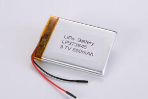 Li Polymer Battery LP373645 3.7V 550mAh with protection circuit and wires
