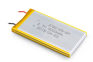 Li Polymer Battery LP3766125 2P 3.7V 8000mAh without protection circuit, without wires