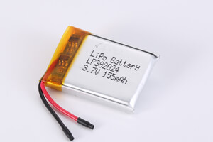 Li Polymer Battery LP382024 3.7V 155mAh with protection circuit and wires