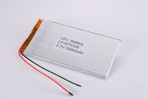 Li Polymer Battery LP3870129 3.7V 5000mAh with protection circuit, NTC, and wires