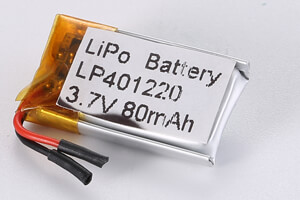 Li Polymer Battery LP401220 3.7V 80mAh with protection circuit and wires