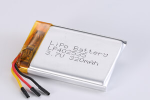Li Polymer Battery LP402535 3.7V 320mAh with PCM, NTC, Wires, and connector