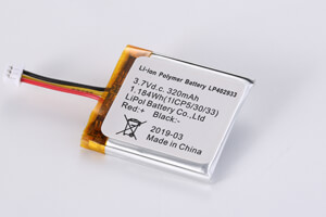 Li Polymer Battery LP402933 3.7V 320mAh with PCM, NTC, Wires, connector
