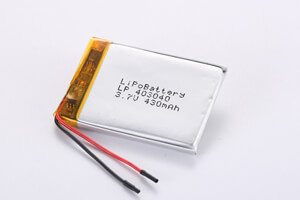 Li Polymer Battery LP403040 3.7V 430mAh with protection circuit and wires