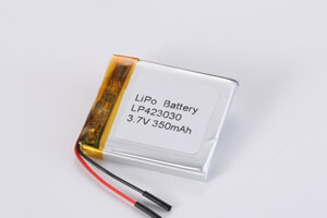 Li Polymer Battery LP423030 3.7V 350mAh with protection circuit, wires, and Tab