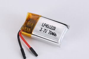 Li Polymer Battery LP451220 3.7V 70mAh with protection circuit and wires
