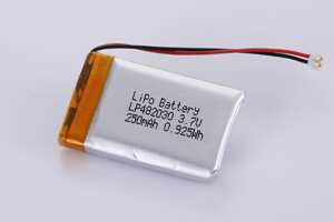 Li Polymer Battery LP482030 3.7V 250mAh 0.925Wh with PCM, Wires(in right), connector