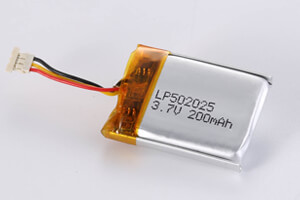Li Polymer Battery LP502025 3.7V 200mAh with protection circuit, NTC, wires, and connector