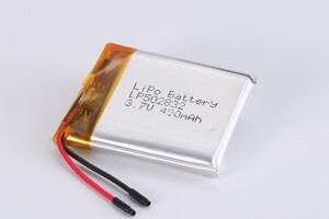Li Polymer Battery LP502832 3.7V 490mAh with protection circuit and wires
