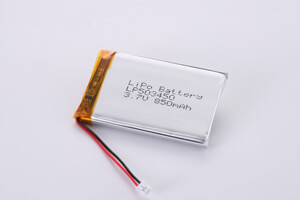 Li Polymer Battery LP503450 3.7V 850mAh with protection circuit, wires, and conenctor