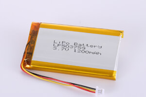 Li Polymer Battery LP503759 3.7V 1200mAh with protection circuit, NTC, wires and connector
