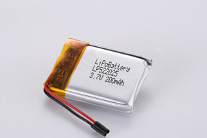 Li Polymer Battery LP522025 3.7V 200mAh with protection cirucit and wires