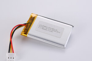 Li Polymer Battery LP523450 3.7 980mAh with protection circuit, NTC, wires, and connector