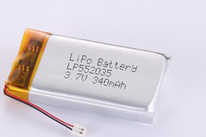 Li Polymer Battery LP552035 3.7V 340mAh with protection circuit, wires, connector