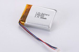 Li Polymer Battery LP552530 3.7V 350mAh with PCM, NTC, Wires, connector