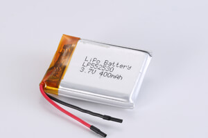 Li Polymer Battery LP552530 3.7V 400mAh with protection circuit and wires
