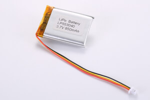 Li Polymer Battery LP553040 3.7V 650mAh with protection circuit, NTC, wires and connector