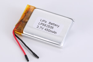 Li Polymer Battery LP562535 3.7V 450mAh with protection circuit and wires