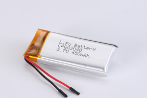 Li Polymer Battery LP602040 3.7V 450mAh with protection circuit, wires, and connector