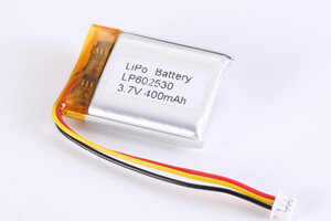 Li Polymer Battery LP602530 3.7V 400mAh with PCM, NTC, Wires, Connector