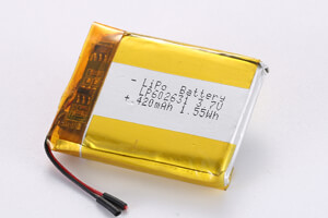 Li Polymer Battery LP602631 3.7V 420mAh with protection circuit and wires