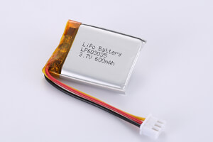 Li Polymer Battery LP603035 3.7V 600mAh with protection circuit, wires, and connector