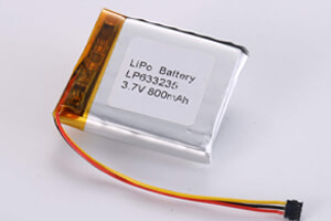 Li Polymer Battery LP633235 3.7V 800mAh with protection circuit, NTC, wires, and connector