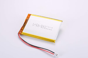 Li Polymer Battery LP686483 3.7V 4200mAh with protection circuit, wires, and connector