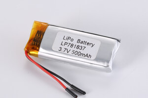 Li Polymer Battery LP781837 3.7V 500mAh with protection circuit and wires