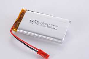 Li Polymer Battery LP783764 3.7V 2300mAh with protection circuit, wires, and connector