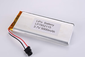 Li Polymer Battery LP7852115 3.7V 5000mAh with protection circuit, NTC, wires, and connector