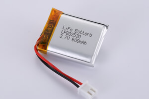 Li Polymer Battery LP802530 3.7V 600mAh with protection circuit, wires, and connector