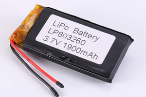Li Polymer Battery LP803260 3.7V 1900mAh with protection circuit and wires
