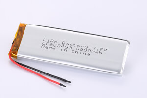 Li Polymer Battery LP803493 3.7V 3000mAh with protection circuit and wires