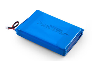 Li Polymer Battery LP836090 2P 3.7V 10000mAh with protection circuit, wires, and connector