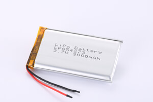 Li Polymer Battery LP854273 3.7V 3000mAh with protection circuit and wires